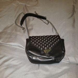 Handbags - Black with silver accents & chain strap purse EUC